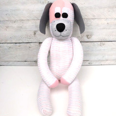 'Doris' the Sock Dog - grey white & peach pink - *READY TO POST*