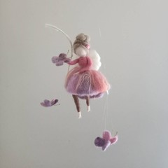 Fairy girl with butterfly friends. Needlefelted fairy mobile.