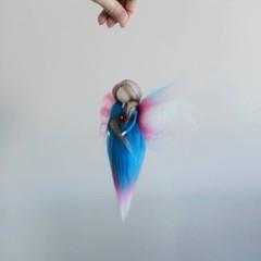 Needlefelted Fairy. Waldorf inspired wool fairy. Steiner felt pixie.