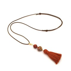 Adjustable Tassel Necklace with Detachable Charm Pendant, Boho Necklace