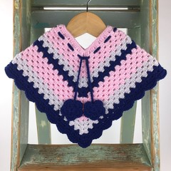 Pure Wool Crochet Poncho | 6 - 12 Mths | Girls | Hand Crocheted | Pink & Navy