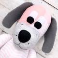 'Doris' the Sock Dog - grey white & peach pink - *READY TO POST*