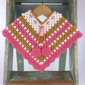 Pure Wool Crochet Poncho | 6 - 12 Mths | Girls | Hand Crocheted | Pink & Mustard