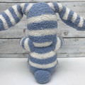 'Billy' the Sock Bunny - blue & white - *READY TO POST* (Easter)