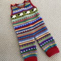 """Red """"Sheep"""" Overalls - size 3 months - hand knitted"""