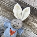 Oliver the  Hand Knitted Bunny Rabbit Toy with Cute Blue Fox Jumper