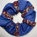 Patchwork scrunchie - denim/burgandy pattern