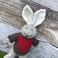 Ben the  Hand Knitted Bunny Rabbit Toy with Cute Red Heart Jumper