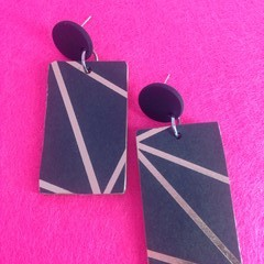 Black & gold/copper geometric print earrings