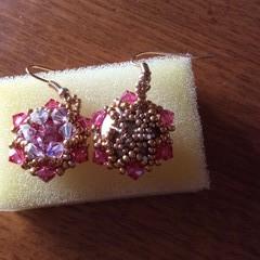 Beaded earring. Pink Swarovski beaded earrings
