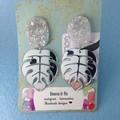 Silver mirror monstera leaf earrings