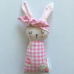 Pink Easter Bunny Baby Rabbit Toy with Pink check and Roses