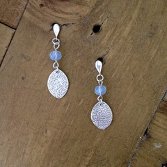 Recycled 99.9% Silver and Opalite moonstone earrings