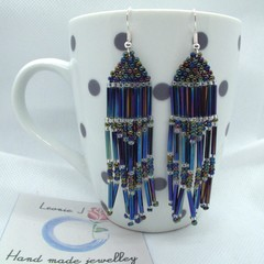 Hand Beaded Drop Earrings with free postage