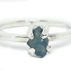 Rough Sapphire Sterling silver Ring size P