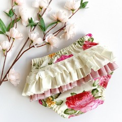 Frilly Nappy Cover - 00   3-6 Months   Ruffles   Diaper Cover   Floral   Baby