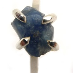 Rough Sapphire Sterling silver Ring Size O