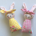 Easter Bunny Baby Rabbit Toy with Yellow check and Roses