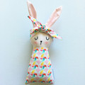 Pink Easter Bunny Baby Rabbit Toy with Pinwheels