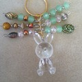 S A L E ! ~ Easter Bunny Keyring - Clear, Green.