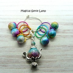Magical Genie Lamp Bead Hugging Stitch Markers Knitting Accessories | Gift For K