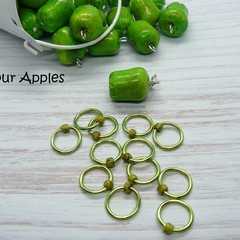 Sour Apples Snagfree Ring Stitch Markers | Knitting Accessories