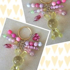 S A L E ! ~ Easter Bunny Keyring - Yellow, Pink/Pink - 2 Available.