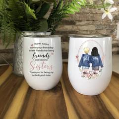 Best Friends Stemless Double Wall Wine Tumbler, Best Friend Gift, Soul Sisters