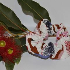 White Australian Animal and Flower Scrunchie