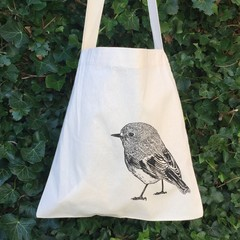 Screen printed Scarlet robin calico shopping bag