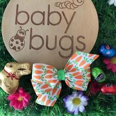 "carrot pinwheel Ribbon Hair Bow clip 3.5"" Easter"