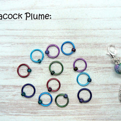 Peacock Plume Snagfree Ring Stitch Markers | Knitting Accessories