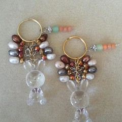 S A L E ! ~ Easter Bunny Keyring - Clear, Brown.