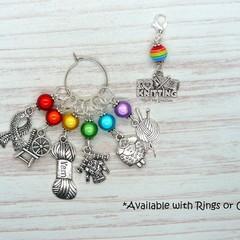 I Love Knitting Rainbow Marker Set | Stitch Markers, Crochet Markers, Knitting
