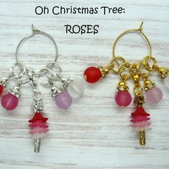 Stitch Markers : Oh Christmas Tree - ROSES Stitch / Crochet Markers