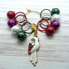 White Colourful Parrot  Bead Hugging Stitch Markers | Knitting Accessories