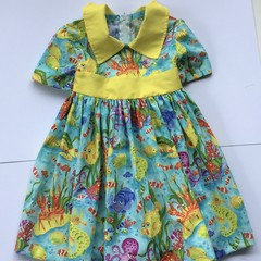 Under the sea,Short sleeve for this beautiful dress, Size 4