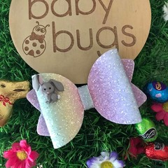 """Pastel Bunny Glitter Hair Bow clip 4"""" Easter"""