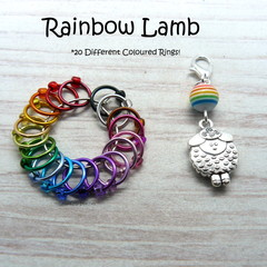Rainbow Lamb Snagfree Ring Stitch Markers | Knitting Accessories