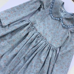 Lovely blue with pink flowers dress. Long sleeve dress, Size 6.