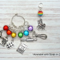 I Love Cooking Rainbow Marker Set | Stitch Markers, Crochet Markers, Knitting