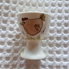 Hand painted porcelain 'chooks' egg cup