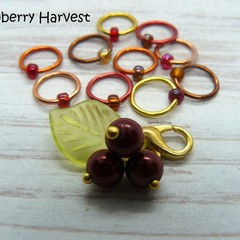 Cranberry Harvest Snagfree Ring Stitch Markers | Knitting Accessories