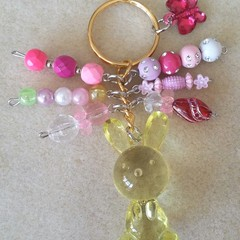 S A L E ! ~ Easter Bunny Keyring - Yellow, Pink/Clear
