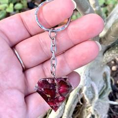 Resin Diamond Petal Key Chain #1