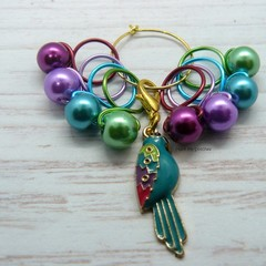 Blue Parrot Snag Free Bead Hugging Stitch Markers Knitting Accessories