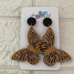 BUTTERFLY - WOODEN FILIGREE STUD DANGLE EARRINGS
