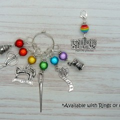I Love Quilting Rainbow Marker Set | Stitch Markers, Crochet Markers, Knitting
