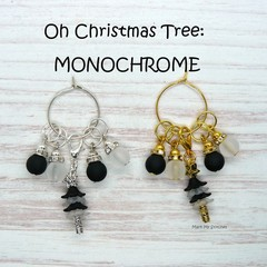 Stitch Markers : Oh Christmas Tree - MONOCHROME Stitch / Crochet Markers