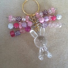 S A L E ! ~ Easter Bunny Keyring - Clear, Pink.